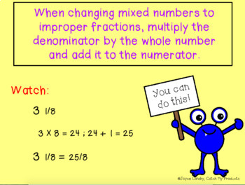 Changing Mixed Numbers to Improper Fractions and Back Again for Promethean Board