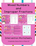 Changing Mixed Numbers to Improper Fractions and Back Agai