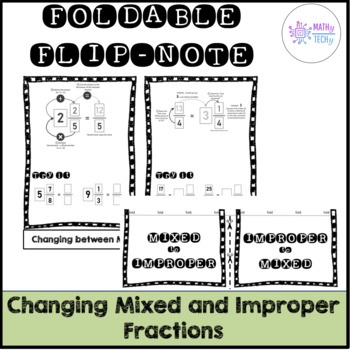 Changing Mixed and Improper Fractions Foldable Flip Note