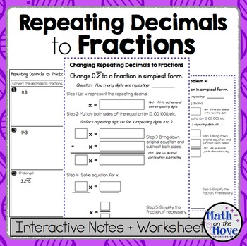 changing repeating decimals into fractions  notes and worksheet originaljpg