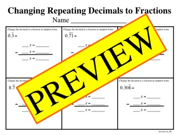 Changing Repeating Decimals to Fractions Bundle