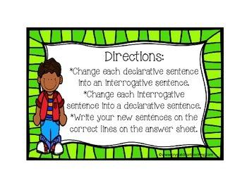 Changing Sentence Types Task Cards