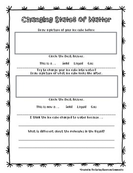 Changing States of Matter Experiment Page