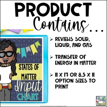 Changing States of Matter Input Chart & Student Sheets - 3rd-5th Grade Science