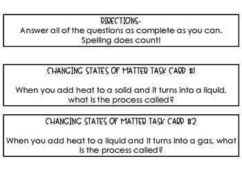Changing States of Matter Task Cards