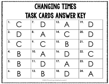 Changing Times Task Cards {U.S. History}
