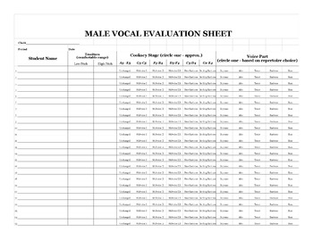 Changing Voice Boys Range Evaluation Sheet for Middle Scho