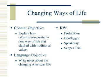 Changing Ways of Life (1920s)