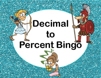 Changing a Decimal to a Percent Bingo Game-Greek Myth Theme