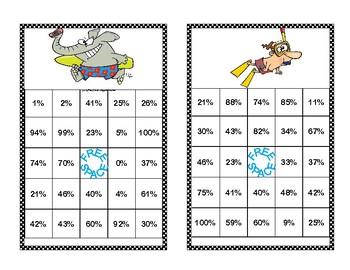 Changing a Decimal to a Percent Bingo Game-Summer Fun Theme