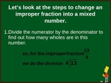 Changing improper fractions into mixed numbers powerpoint