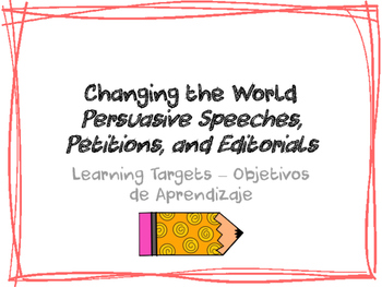 Changing the World Learning Targets - Bilingual