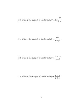 Changing the subject of a formula worksheet  (harder questions)