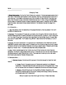 Changing times in modern world history- reading/outline/notes for global history