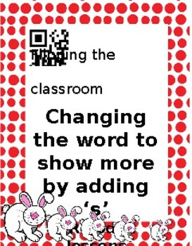 Changing words to show there are lots of something by adding 's' Self paced less
