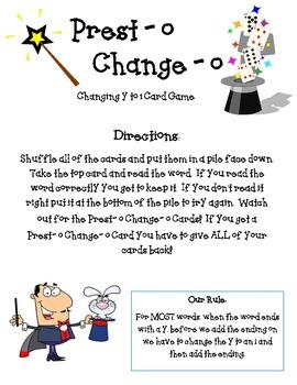 Changing y to i - Prest-o Change-o