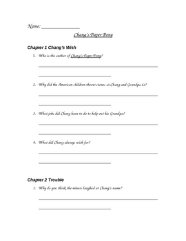 Chang's Paper Pony by Eleanor Coerr Comprehension Questions