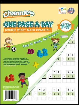 Channie's One Page A Day Double Digit Math Problem Workbook for 1st - 3rd Grade