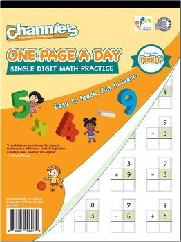 Channie's One Page A Day Single Digit Math Problem Workbook for Prek-1st