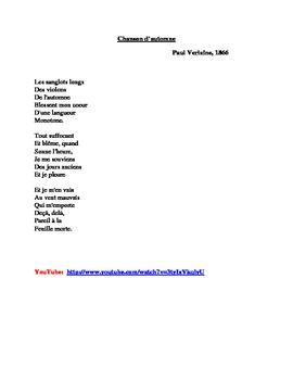 Chanson d'automne poem by Paul Verlaine