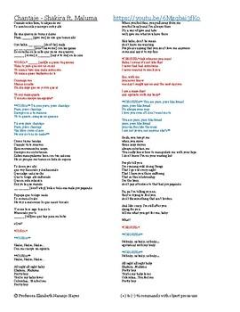 Chantaje - Shakira Ft. Maluma - (+) and (-) tú commands with object pronouns