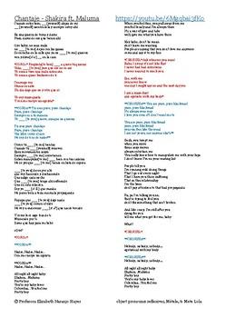 Chantaje - Shakira Ft. Maluma - object pronouns: reflexives