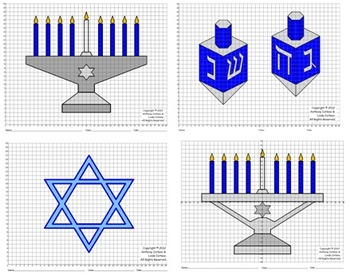 Chanukah, Menorah, Dreidel, Coordinate Graphing & Drawing, Mystery Picture