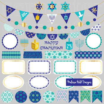 Chanukah Bunting Labels Washi Clipart