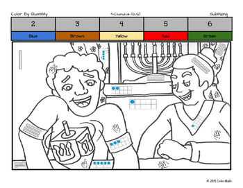 Chanukah Coloring Page by Math Skills - Subitizing, Addition, Multiplication