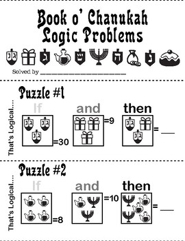 Chanukah Hanukah Hanukkah Logic & Number Problem Booklets + L@@K! Make Your Own!