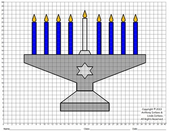 Menorah, Chanukah, Coordinate Graphing & Drawing, Mystery Picture