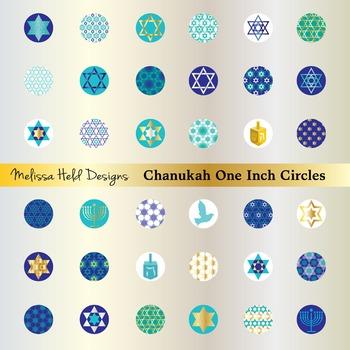 Chanukah One Inch Circles Clip Art