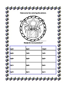 Chanukah Themed -Times Tables 1-4-Sequenced Printable Worksheets