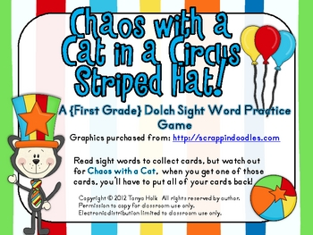 Chaos with a Cat in a Circus Striped Hat First Grade Sight Word Game