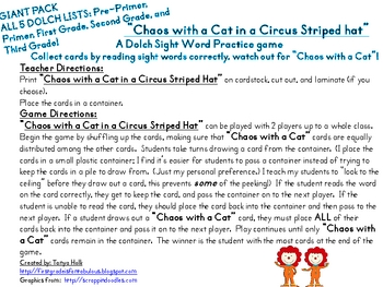Chaos with a Cat in a Circus Striped Hat GIANT PACK ALL 5 DOLCH LISTS