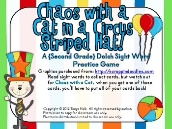 Chaos with a Cat in a Circus Striped Hat Second Grade Sight Word Game