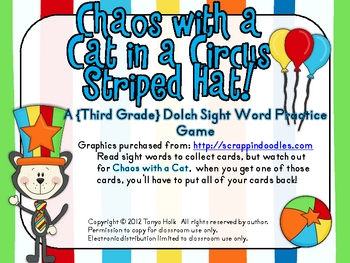 Chaos with a Cat in a Circus Striped Hat Third Grade Sight Word Game