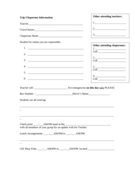 Chaperone Trip Organization form