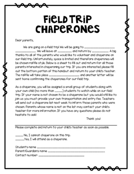 Chaperone letter by Emily W | Teachers Pay Teachers