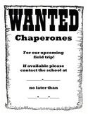 Chaperones Wanted Letter - feild trip, printable, display