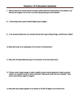 AP US Government & Politics Chapter 1 & 2 Discussion Questions