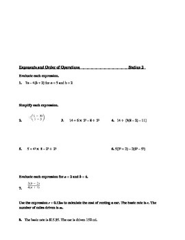 Chapter 1, Basic or Pre-Requisite Algebra Stations