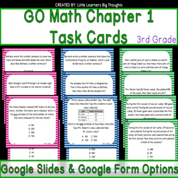 GO Math Chapter 1 Task Cards Grade 3