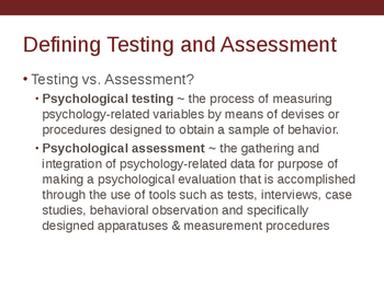 Chapter 1 Intro to Psychological Assessment