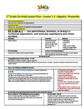 Chapter 1 Lesson 3 Grade 5 Go Math Lesson Plan