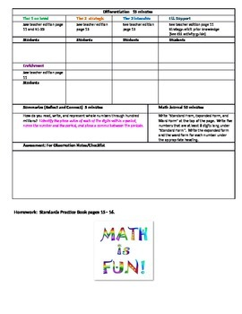 Chapter 1 Lessons 1 - 12 Grade 5 Bundled Go Math Lesson Plan