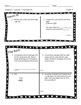 Place Value Math Homework (Chapter 1)