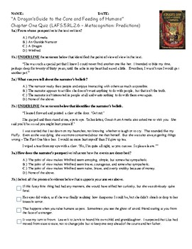 Chapter 1 Quiz for A Dragon's Guide to the Care and Feeding of Humans