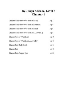 Chapter 1 Review Worksheets and Tests