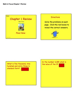 Chapter 1 Review for Math in Focus